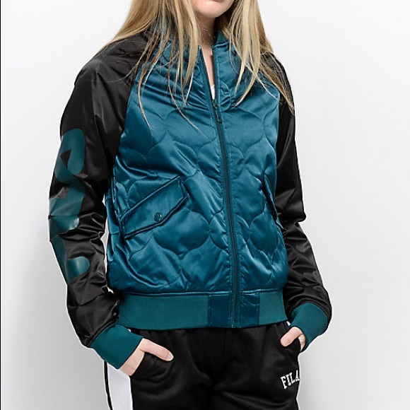 b047aa5ade6 Fila Jackets & Coats | Teal Black Petra Quilted Bomber Jacket | Poshmark
